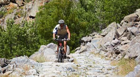 Mountain Biker In The Rockies