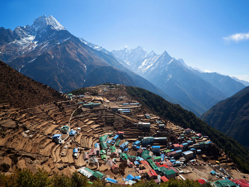 Sherpa village of Namche Bazaar at 3,400m
