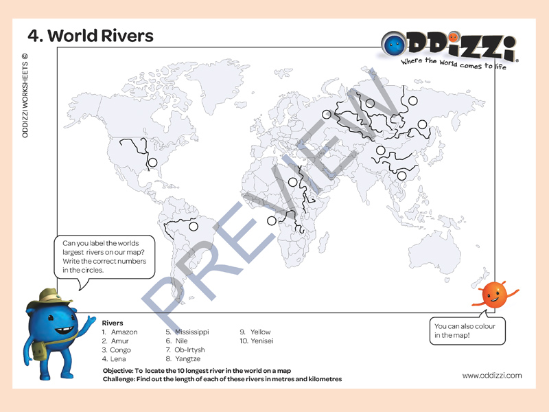 Rivers Oddizzi. Profile Template To Plete On A Continent's Largest River. Worksheet. World Rivers Worksheet At Clickcart.co