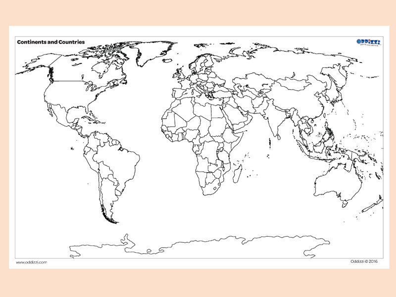 Map Skills Oddizzi - Blank map of continents to label