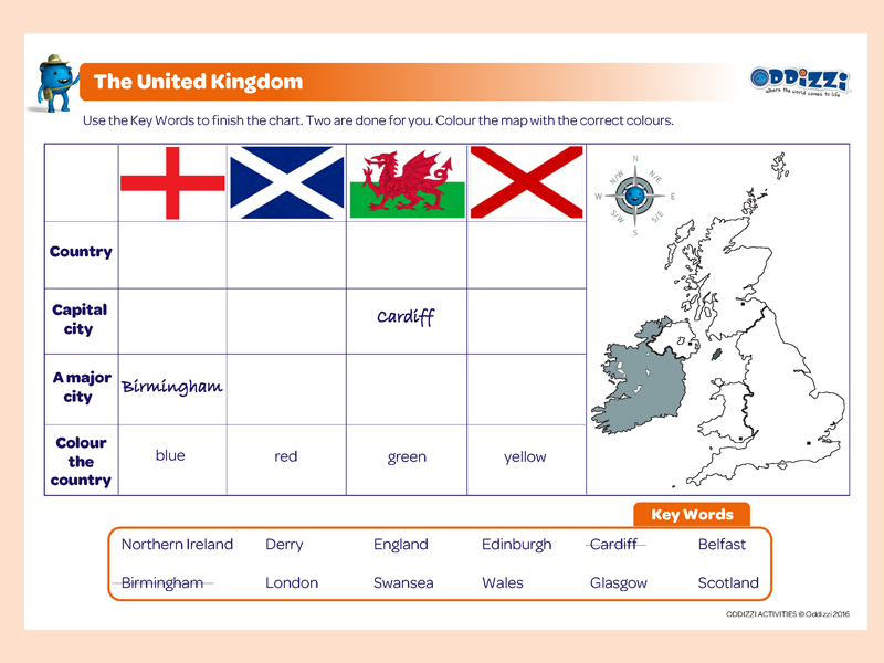 Map Of England For Ks1.United Kingdom Oddizzi